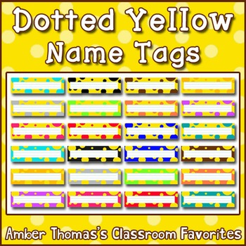 Polka dot student name plates:  Yellow and Green