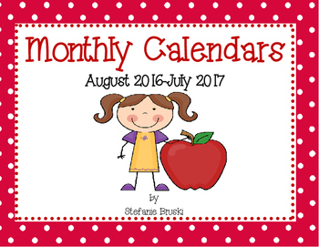 Polkadots Monthly Calendars