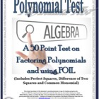 Polynomial Test for Algebra - CCSS Aligned