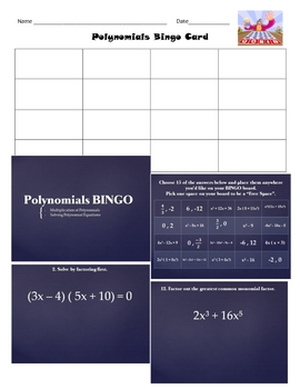 Polynomials Bingo Review Game