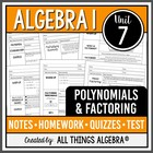 Polynomials &amp; Factoring - Notes, Homework, Quizzes, and Te
