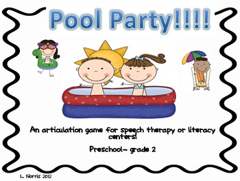 Pool Party!  Articulation Speech Therapy Literacy Game for
