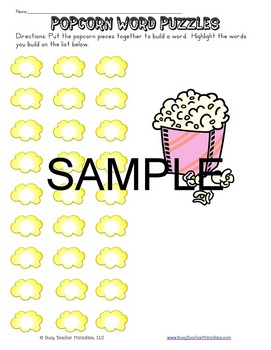 Popcorn Words (Sight Word) Centers Set 2 - Programmable! P