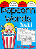 Popcorn Words activities for centers and Word Work