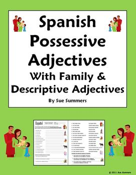 Possessive & Descriptive Adjectives & Family Worksheet