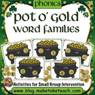 Pot O' Gold St. Patrick's Day Word Family Game