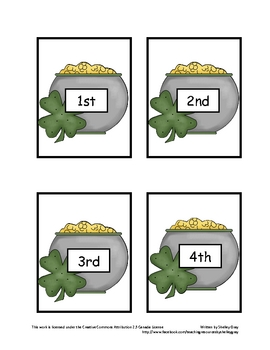 "Pot of Gold ""Ordinal Numbers"": a St. Patrick's Math Center"