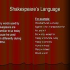 Power Point Presentation: Shakespearean Language