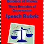 Powers of Government Branches: Speech Rubric
