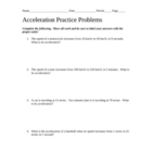 Practice Problems for Acceleration with Answer Key