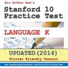 Stanford 10 Practice Test Packet (Language-Kindergarten)