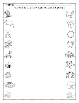 Pre-K to 1st Grade Rhyming Packet