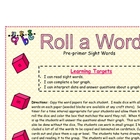 Pre-Primer Sight Word Roll A Word Activity