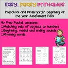 Pre-k and Kindergarten Readiness Assessement Pack