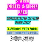 Prefix & Suffix Pack--Leveled Lists, Classroom Activities