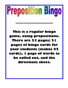 Preposition Bingo Game