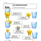 Prepositions and Está in Spanish Vocabulary Sheet & Follo