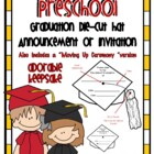 Preschool Graduation Die Cut Hat Announcment or Invitation