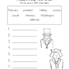 President's Day ABC Order Worksheet