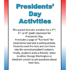 Presidents&#039; Day Activities- 2nd, 3rd, or 4th Grade