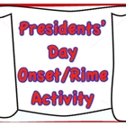 Presidents&#039; Day Onset/Rime Literacy Center/Activity