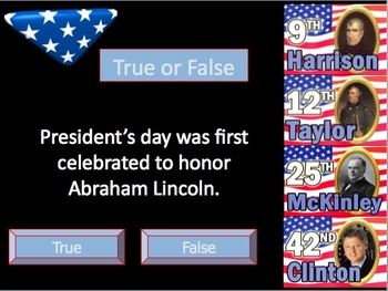 President's Day Powerpoint Lesson and interactive quiz