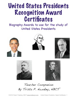Presidents Recognition Biography Award Certificates