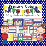 Primary Colors Polka Dot & Stick Kids Classroom Organizati
