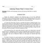 Primary Document: Analyzing Common Sense by Thomas Paine