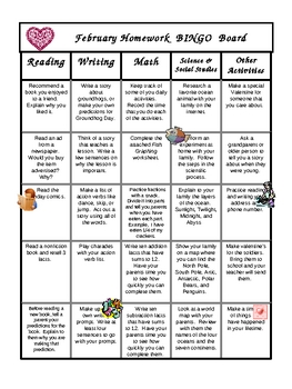 Primary Homework BINGO