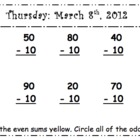 Primary March Math Do Now: Lucky Leprechaun theme