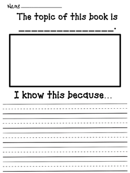 Primary Reading Response Sheets