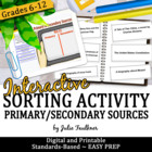 Primary & Secondary Sources Human Sorting Activity
