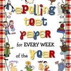 Primary Spelling Test Paper for Every Week of the Year