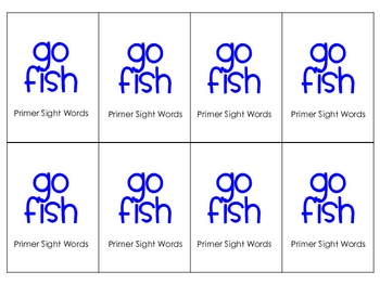 Primer Sight words Go Fish game