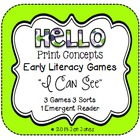 Print Concepts Early Literacy Games &amp; Sorts, &quot;I Can See&quot; Edition