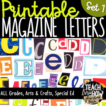 Printable Magazine Letter Cutouts, Set 1, Alphabet a-z: Wo