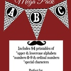 Fun Printable Mustache Bunting Mega Pack-(Alphabet, Number