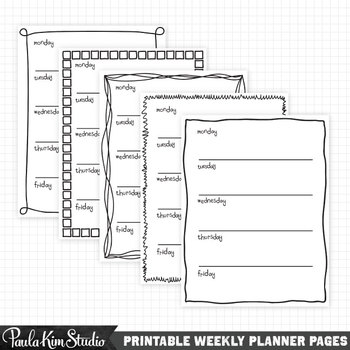Printable Weekly Planner Digital Download