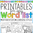 Printables for any Word List