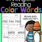 Color Words: Printing and reading