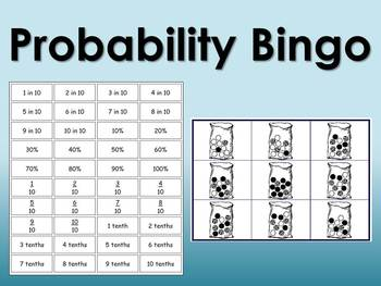 Probability Bingo - words, decimals, fractions, and percentages