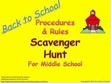 Procedures & Rules Scavenger Hunt for Middle School