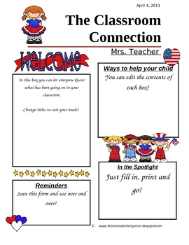 Programmable Classroom Newsletter Patriotic Theme