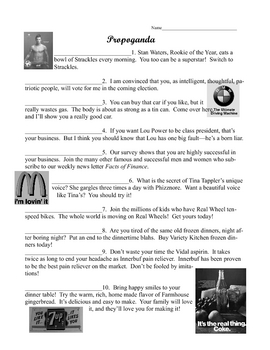 Propaganda Worksheet
