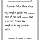 Pumpkin Patch Place Value Recording Sheet
