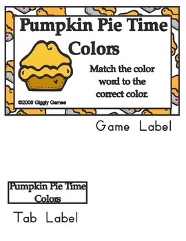 Pumpkin Pie Time Basic Skill File Folder Games