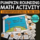 Pumpkin ROUNDING to 10, 100, and 1000  TASK CARDS / MATH C