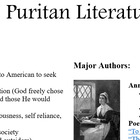 Puritan Literature Unit Notes