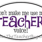 "Purple ""Don't make me use my teacher voice!"" Sticker"
